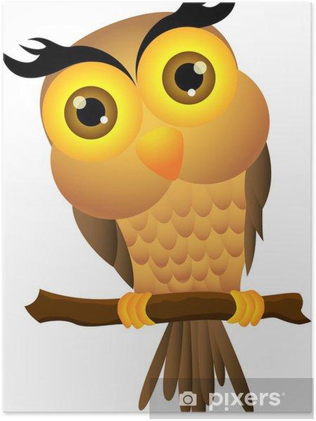 Plakát Kreslený sova sedí na větvi stromu - Ptáci