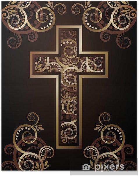 Plakát Křesťanský kříž silueta s Květinové zdobené - Náboženství