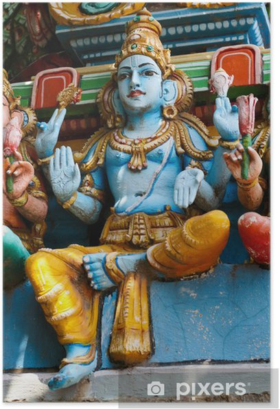 Plakat Krishna statua w hinduskiej świątyni w Chennai - Azja