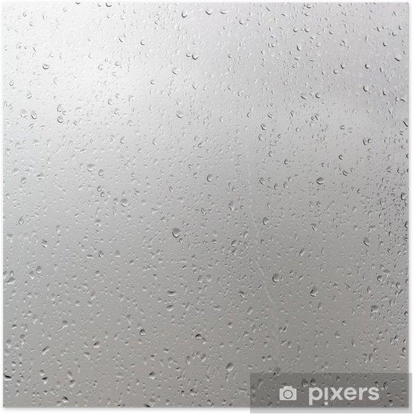 Plakat Krople deszczu na szybie okna w pochmurny dzień - Pory roku
