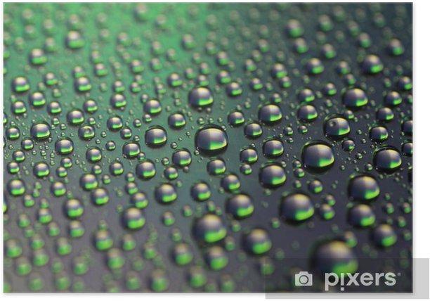 Plakat Krople wody z zielonym - Abstrakcja