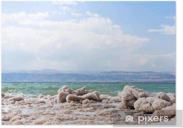 Plakat Krystaliczna sól na plaży Morza Martwego - Bliski Wschód
