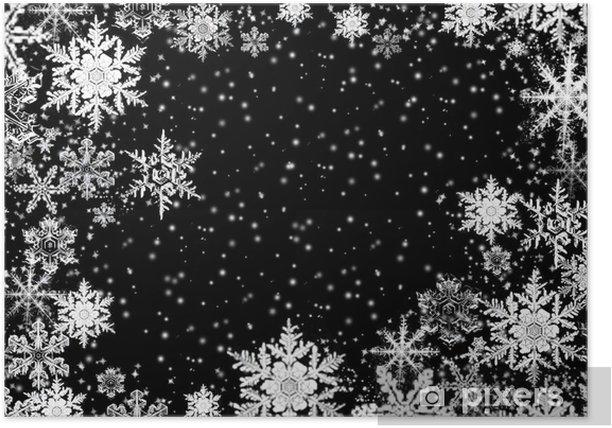 Plakat Kryształów śniegu na czarnym tle - Pory roku