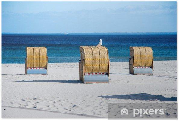 Plakat Krzesło plaży z mewy - Wakacje