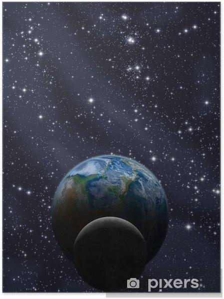 Plakat Księżyc i Ziemia z Drogi Mlecznej - Przestrzeń kosmiczna