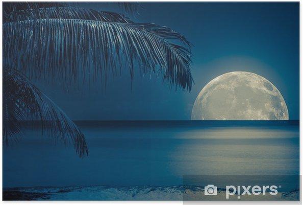 Plakat Księżyc odbija się w wodzie na tropikalnej plaży - iStaging