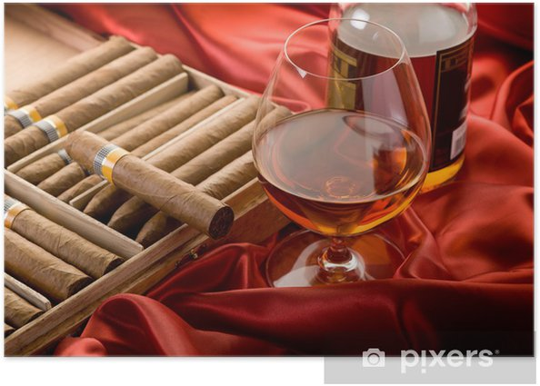 Plakat Kubańskich cygar i butelka alkoholu na czerwonym atłasem - Sukces i osiągnięcia