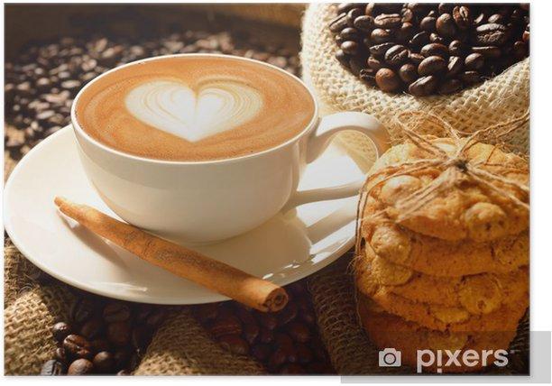 Plakat Kubek cafe latte z ziaren kawy i ciasteczka - Tematy