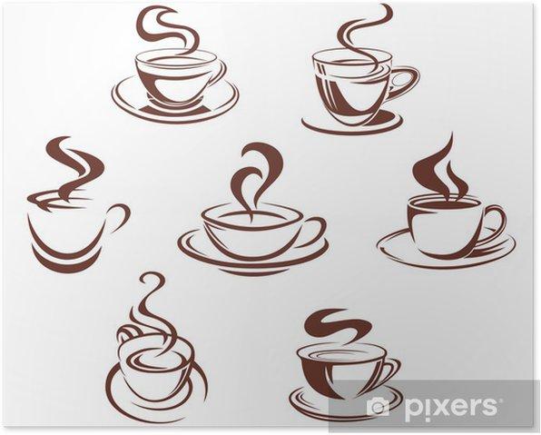 Plakat Kubki kawy i herbaty - Naklejki na ścianę