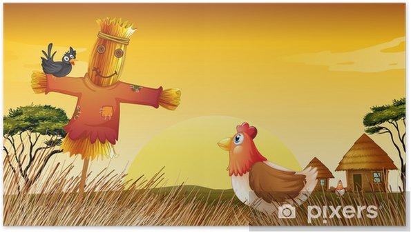 Plakat Kurczaka z wróble i czarny ptak w polu - Tła
