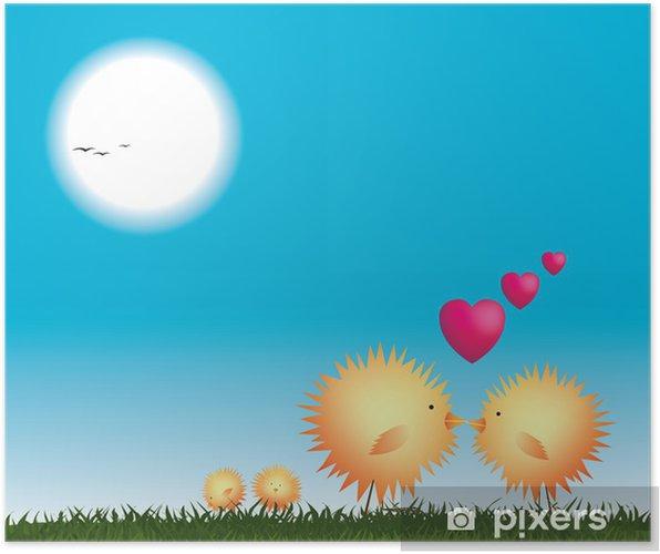 Plakat Kurczaki całuje na gniazdo, walentynki - Ptaki