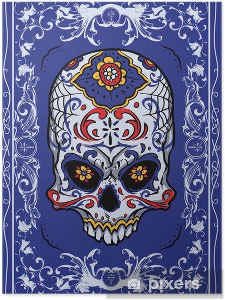 Plakát Květinové lebka - Značky a symboly