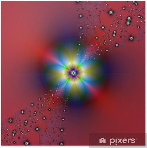 Plakát Květinový sprej na červenou - Abstraktní