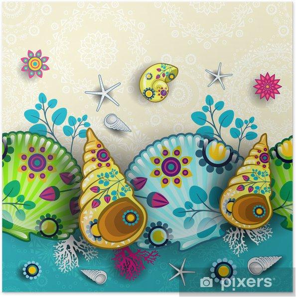 Plakát Květinový vzor mušle - Prázdniny