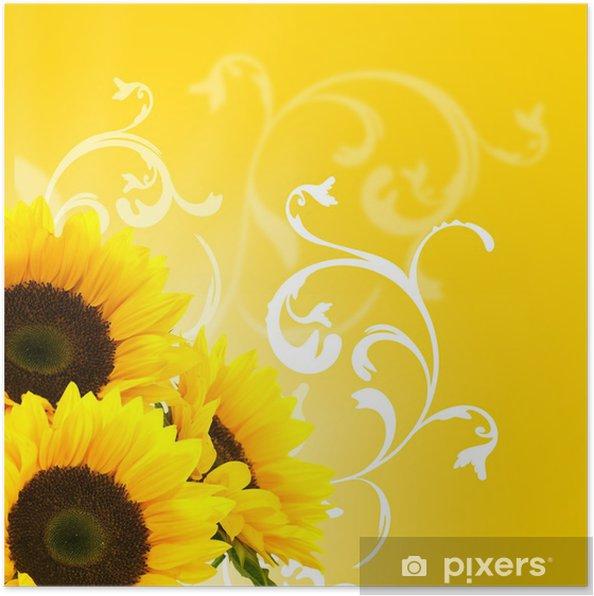 Plakát Květinovým vzorem a slunečnice slunce a květinová výzdoba hranice - Témata