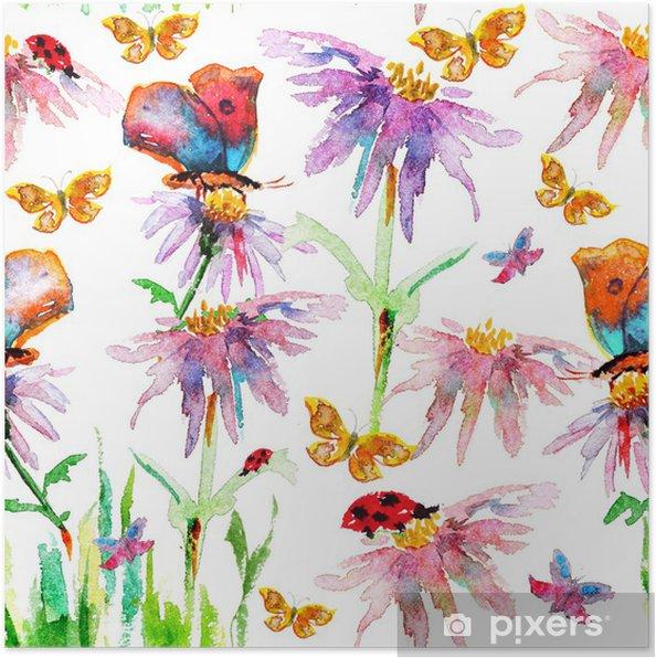 Plakat Kwiat bez szwu tekstury akwarela - Style