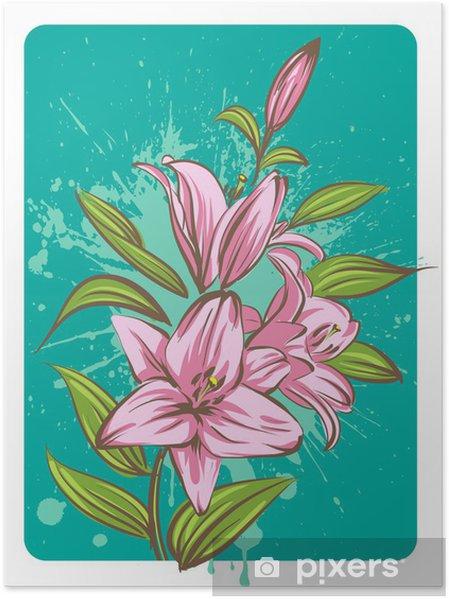 Plakat Kwiat lilii na tle grunge - Kwiaty