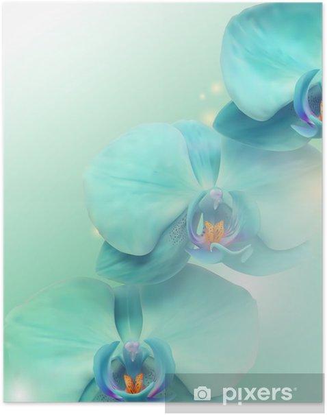 Plakat Kwiat orchidei w tle - Tematy