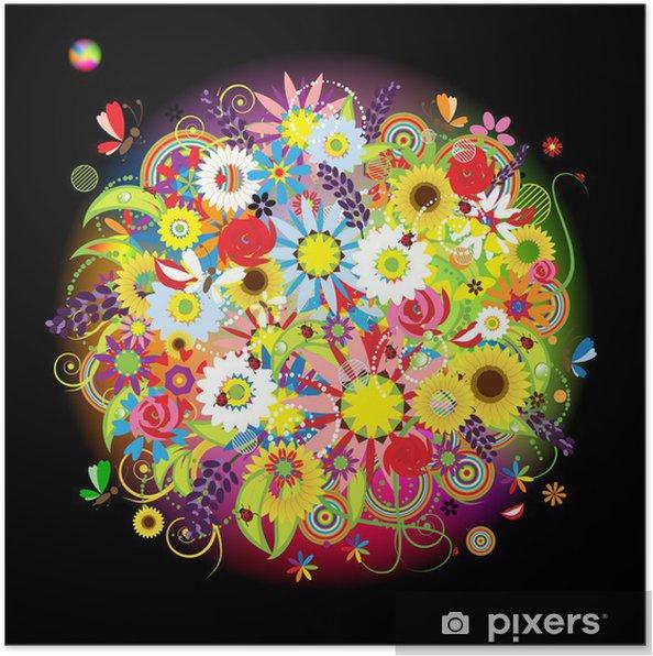 Plakat Kwiatowy bukiet piękne projekt - Kwiaty