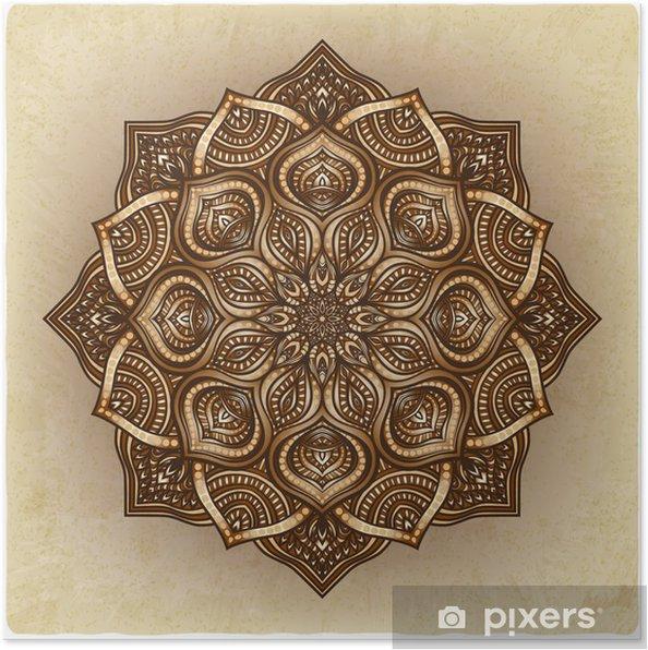 Plakat Kwiatowy ornament brązowy okrągły - Tła