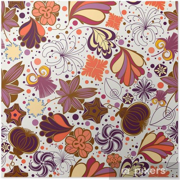 Plakat Kwiatowy powtarzalne w stylu retro - Kwiaty