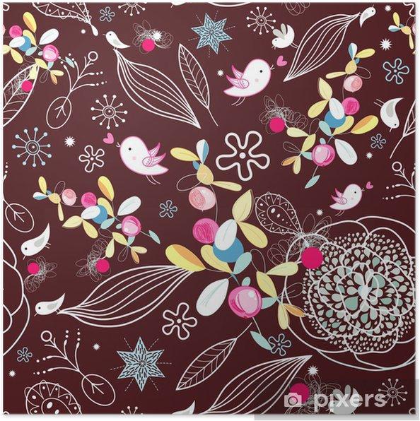 Plakat Kwiatowy tekstury z ptakami - Tekstury