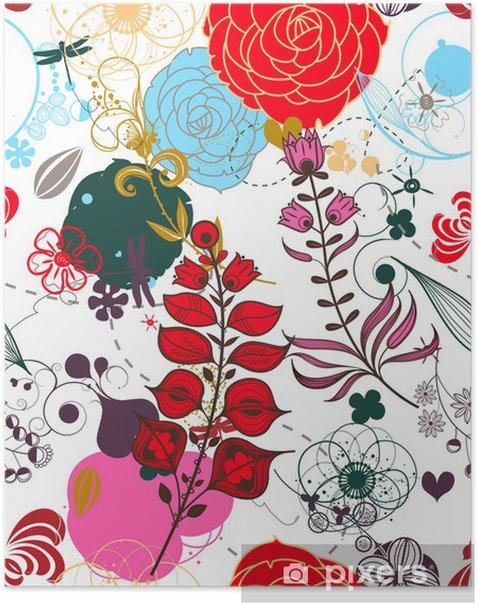 Plakat Kwiatowy wektor retro (seamless pattern) - Style