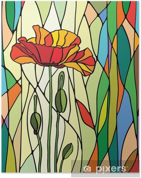 Plakat Kwiatowy witraż -