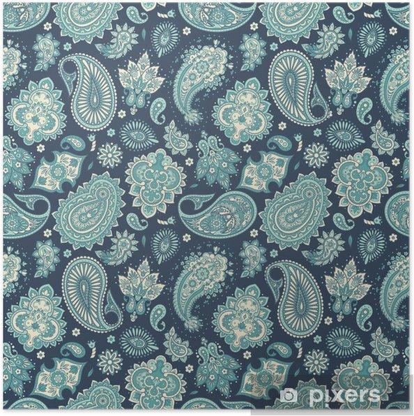 Plakat Kwiatowy wzór z ornamentem paisley. ilustracji wektorowych w azjatyckim stylu włókienniczym - Zasoby graficzne
