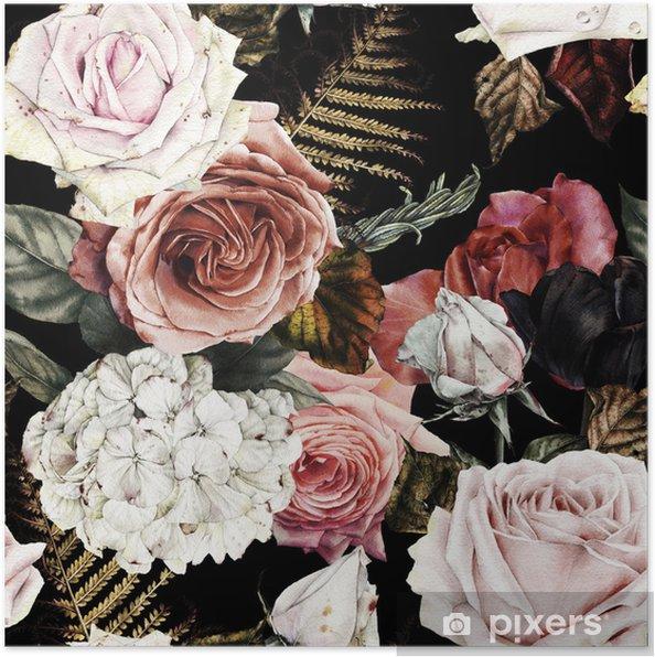 Plakat Kwiatowy wzór z róż, akwarela. - Zasoby graficzne