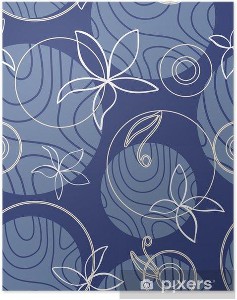 Plakat Kwiaty abstrakcyjne tekstury sapphirine - Tekstury