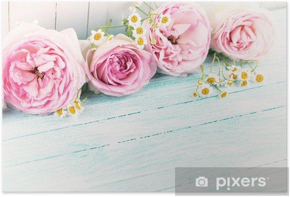 Plakat Kwiaty na drewnianym tle - Style