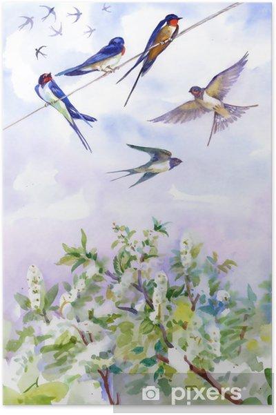 Plakat Kwiaty Wiśni Na Dzień Wiosny