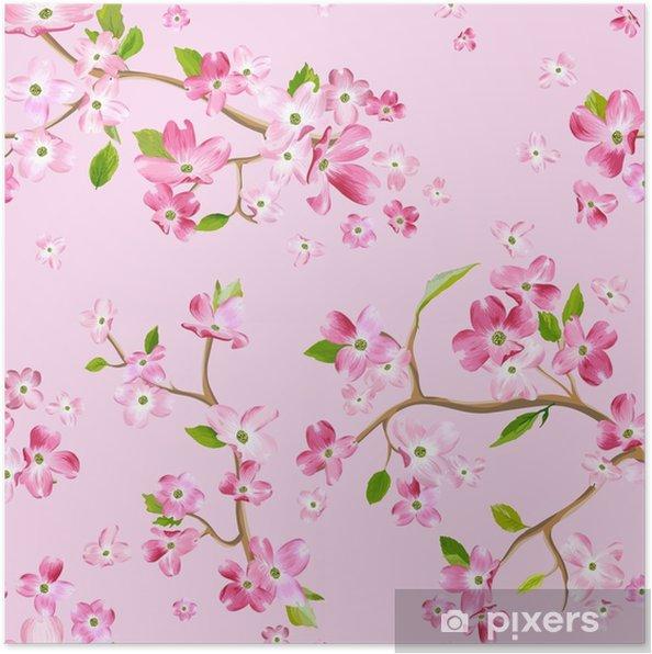 Plakat Kwitnące Wiosenne Kwiaty Wzór Tła Druk Bez Szwu Mody W Wektorze