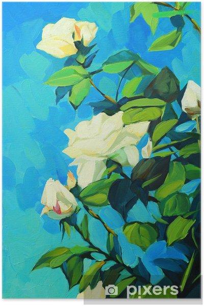 Plakat Kwitnących białych róż, malarstwo olej na płótnie, illustratio - Sztuka i twórczość