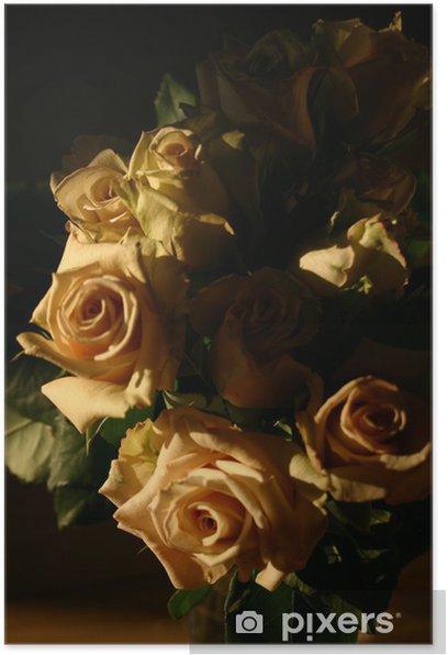 Plakát Kytice z růží černé pozadí (vertikální) - Květiny