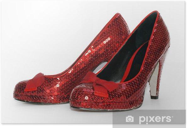 Plakat Ladies Sexy Red Sparkle wysoki obcas buty - Moda