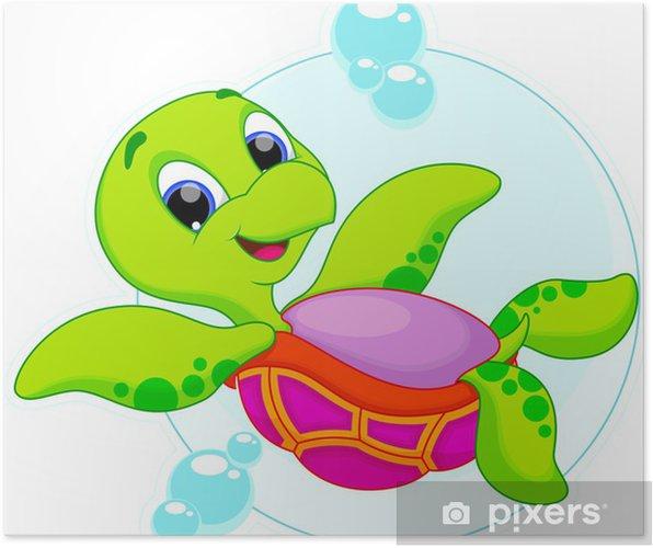 Plakat Ładny żółw pływa do góry nogami - Inne Inne