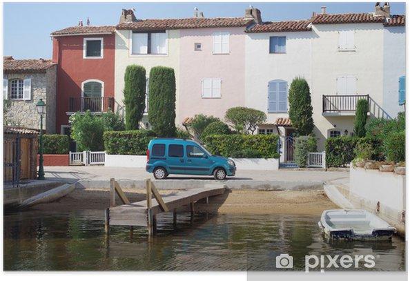 Plakat Laguny miasto Port Grimaud w Francja - Europa