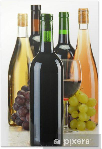 Plakát Láhve vína různého druhu izolovaných na bílém - Alkohol