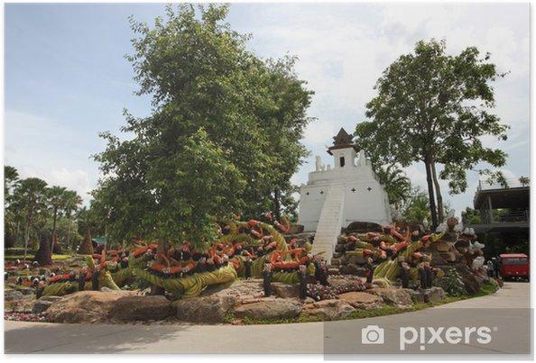 Plakat Łąka z szopy i trawy i drzew i kamieni w ogrodzie - Azja