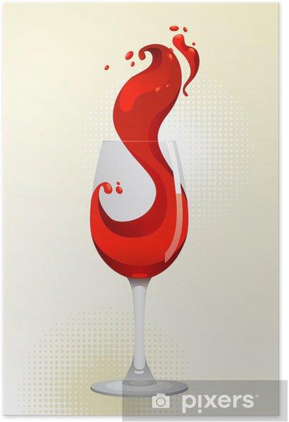 Plakat Lampka czerwonego wina na białym tle. - Świętowanie