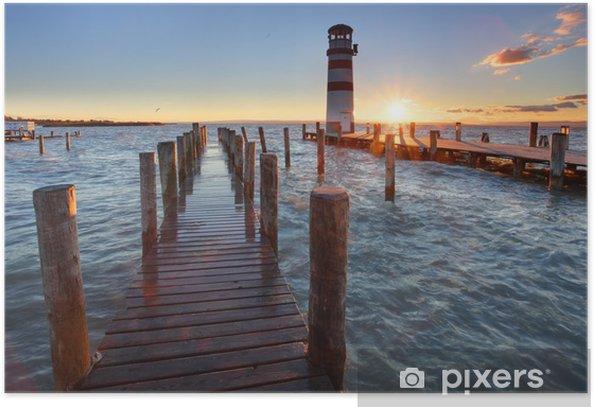 Plakat Latarnia morska na Jezioro Nezyderskie na zachodzie słońca - Latarnia morska