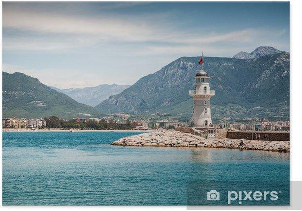 Plakat Latarnia morska nad morzem w Alanya, Turcja - Wakacje