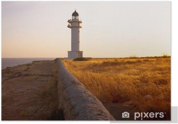 Plakat Latarnia morska w Barbaria przylądka wyspy Formentera Baleary - Europa