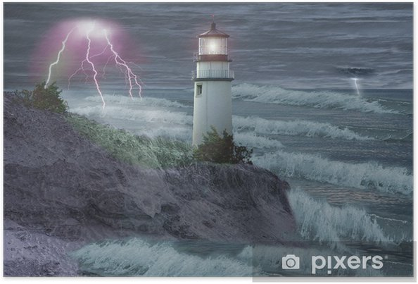 Plakat Latarnia morska w burzy - Latarnia morska