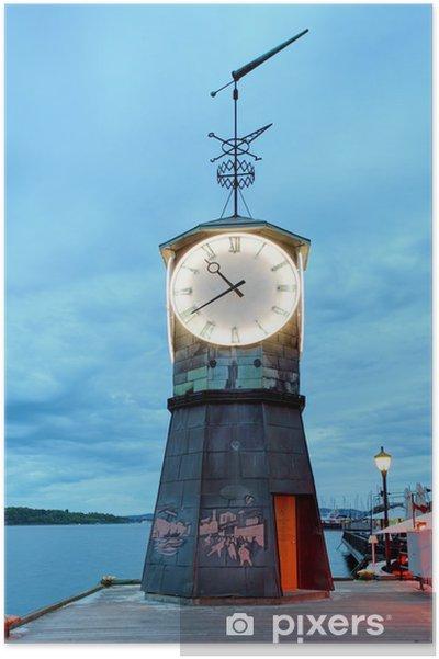Plakat Latarnia morska w Oslo embakments - Miasta europejskie