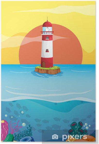 Plakat Latarnia morska w środku morza - Tła