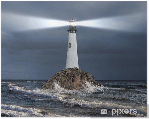 Plakat Latarnia z promienia światła - Latarnia morska