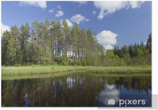 Plakat Lato jeziora w Szwecji, szeroki kąt zdjęcia - Woda